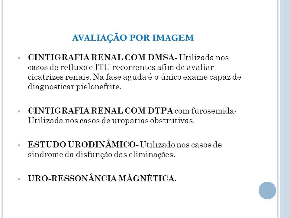 CINTIGRAFIA RENAL COM DMSA- Utilizada nos casos de refluxo e ITU recorrentes afim de avaliar cicatrizes renais. Na fase aguda é o único exame capaz de