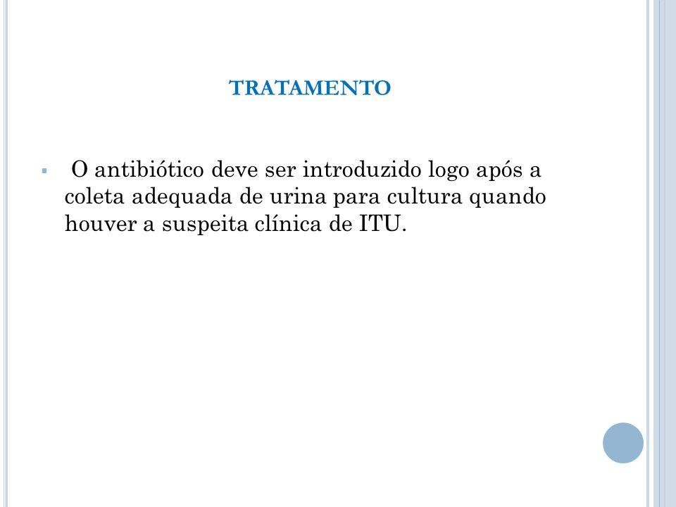 O antibiótico deve ser introduzido logo após a coleta adequada de urina para cultura quando houver a suspeita clínica de ITU. TRATAMENTO