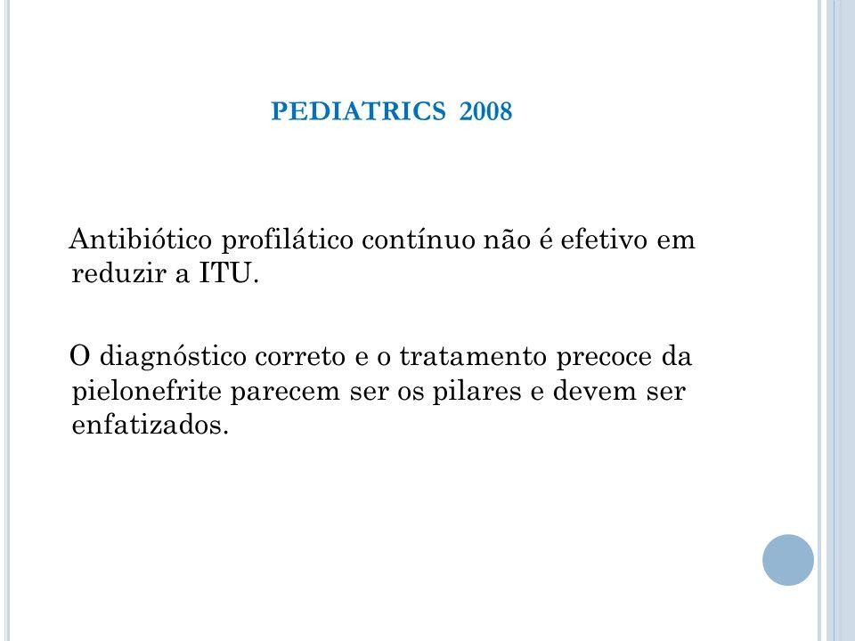 Antibiótico profilático contínuo não é efetivo em reduzir a ITU. O diagnóstico correto e o tratamento precoce da pielonefrite parecem ser os pilares e