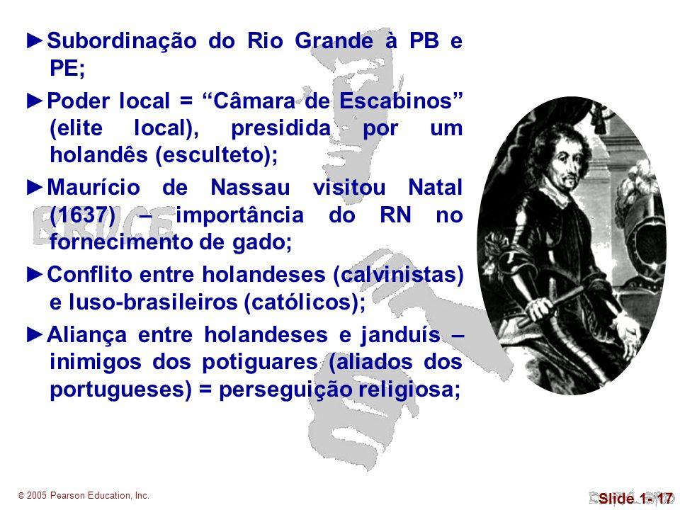 © 2005 Pearson Education, Inc. Slide 1- 17 Subordinação do Rio Grande à PB e PE; Poder local = Câmara de Escabinos (elite local), presidida por um hol