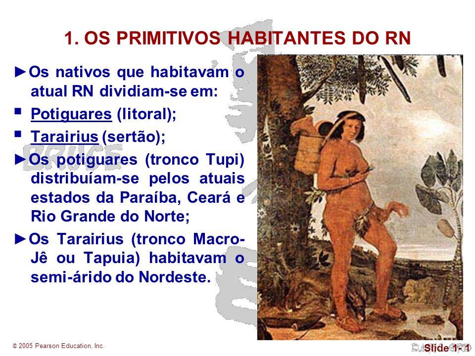 © 2005 Pearson Education, Inc. Slide 1- 1 1. OS PRIMITIVOS HABITANTES DO RN Os nativos que habitavam o atual RN dividiam-se em: Potiguares (litoral);