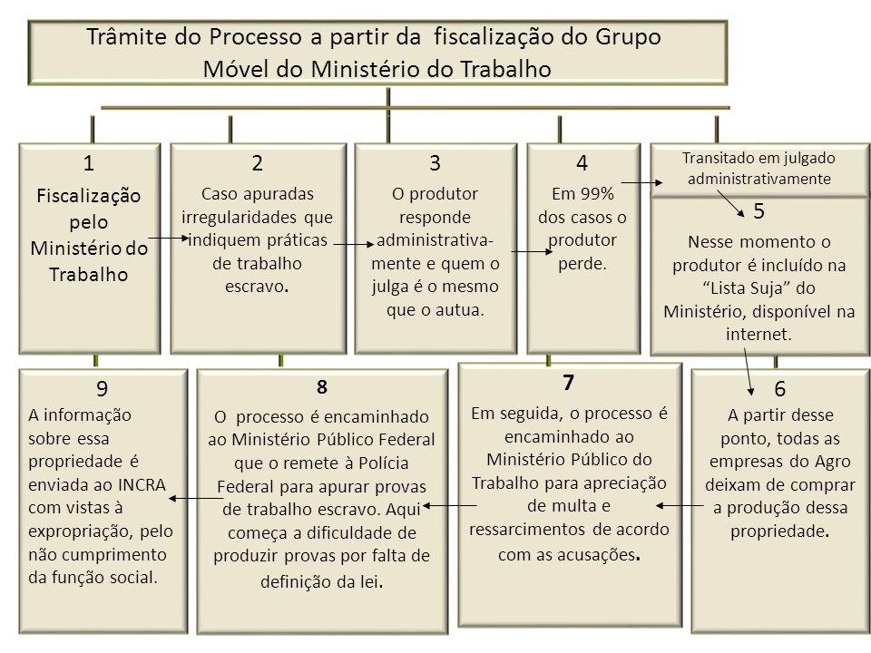 Trâmite do Processo a partir da fiscalização do Grupo Móvel do Ministério do Trabalho 1 Fiscalização pelo Ministério do Trabalho 2 Caso apuradas irreg