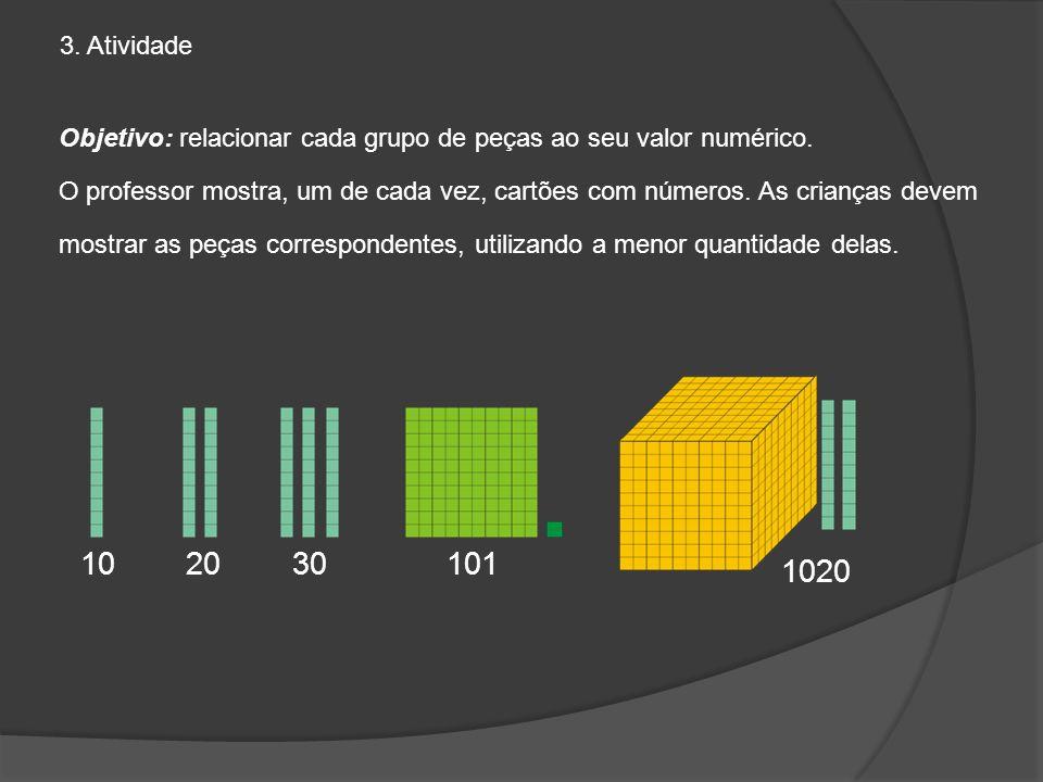 Objetivo: relacionar cada grupo de peças ao seu valor numérico. O professor mostra, um de cada vez, cartões com números. As crianças devem mostrar as
