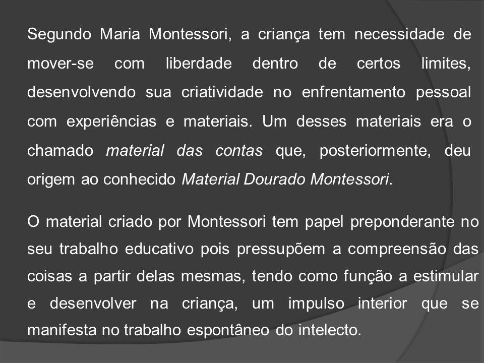 Segundo Maria Montessori, a criança tem necessidade de mover-se com liberdade dentro de certos limites, desenvolvendo sua criatividade no enfrentament