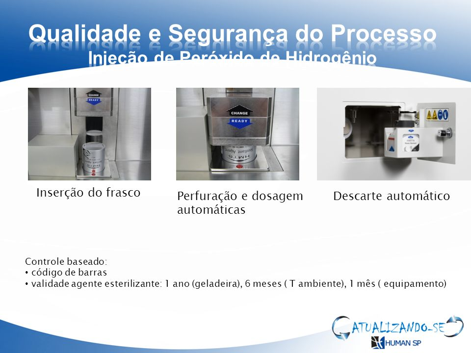 Inserção do frasco Perfuração e dosagem automáticas Descarte automático Controle baseado: código de barras validade agente esterilizante: 1 ano (gelad