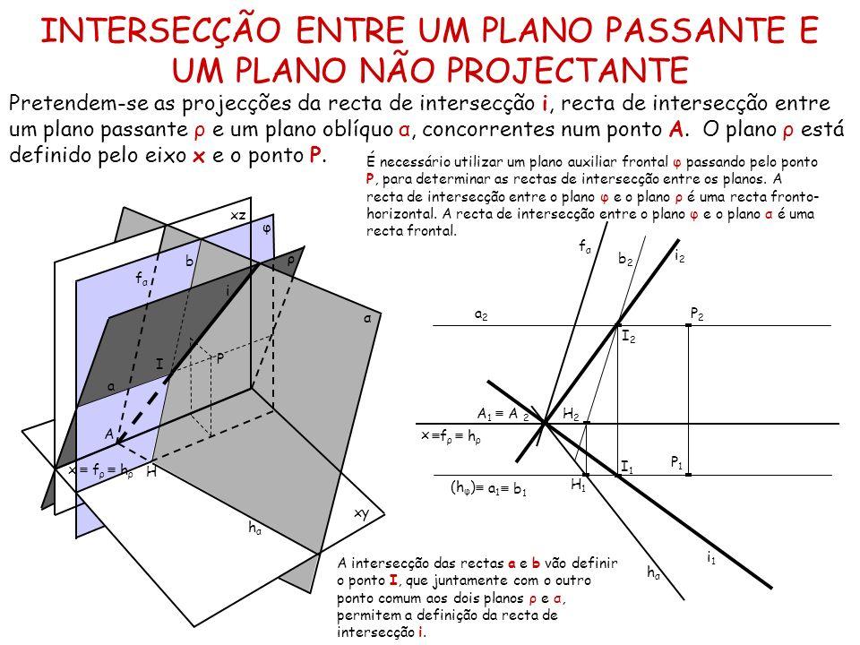 INTERSECÇÃO ENTRE UM PLANO PASSANTE E UM PLANO NÃO PROJECTANTE Pretendem-se as projecções da recta de intersecção i, recta de intersecção entre um pla