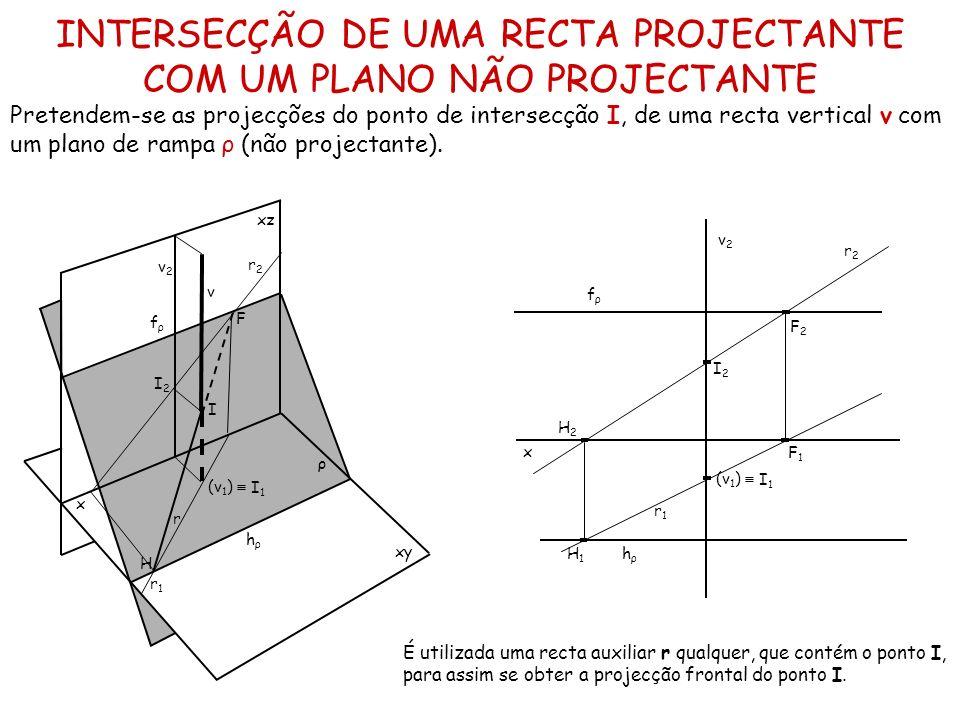 INTERSECÇÃO DE UMA RECTA PROJECTANTE COM UM PLANO NÃO PROJECTANTE Pretendem-se as projecções do ponto de intersecção I, de uma recta vertical v com um
