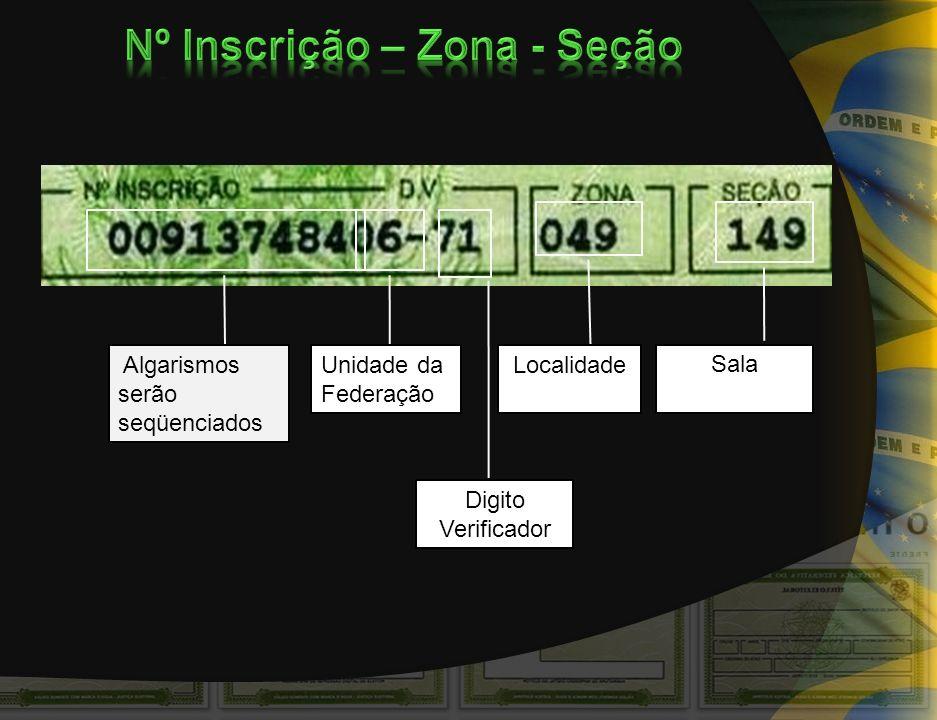 Algarismos serão seqüenciados Unidade da Federação Digito Verificador Localidade Sala