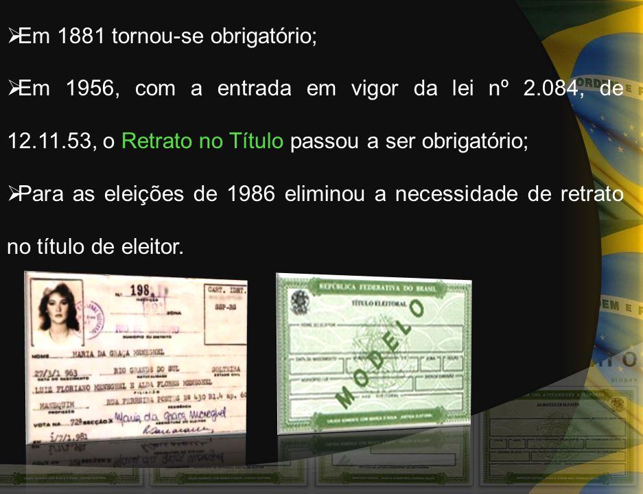 Em 1881 tornou-se obrigatório; Em 1956, com a entrada em vigor da lei nº 2.084, de 12.11.53, o Retrato no Título passou a ser obrigatório; Para as eleições de 1986 eliminou a necessidade de retrato no título de eleitor.