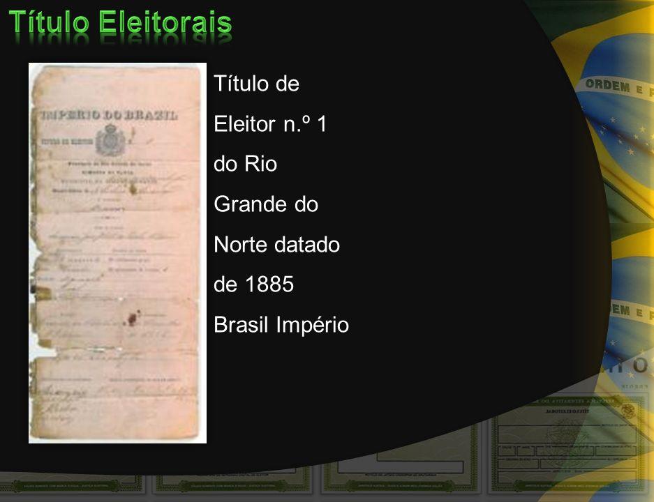 Primeiro modelo de título de eleitor utilizado quando da criação da Justiça Eleitoral, em sua primeira fase (1932 – 1937).