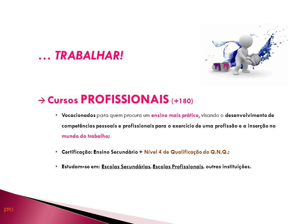 … TRABALHAR! Cursos PROFISSIONAIS (+180) Vocacionados para quem procura um ensino mais prático, visando o desenvolvimento de competências pessoais e p