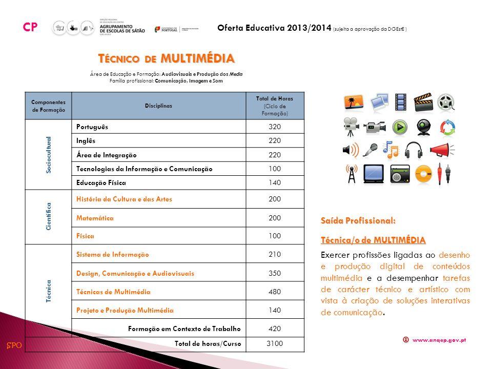 Componentes de Formação Disciplinas Total de Horas (Ciclo de Formação) Sociocultural Português320 Inglês220 Área de Integração220 Tecnologias da Informação e Comunicação100 Educação Física140 Científica História da Cultura e das Artes200 Matemática200 Física100 Técnica Sistema de Informação210 Design, Comunicação e Audiovisuais350 Técnicas de Multimédia480 Projeto e Produção Multimédia140 Formação em Contexto de Trabalho420 Total de horas/Curso 3100 T ÉCNICO DE MULTIMÉDIA Área de Educação e Formação: Audiovisuais e Produção dos Media Família profissional: Comunicação, Imagem e Som Saída Profissional: Técnica/o de MULTIMÉDIA Exercer profissões ligadas ao desenho e produção digital de conteúdos multimédia e a desempenhar tarefas de carácter técnico e artístico com vista à criação de soluções interativas de comunicação.