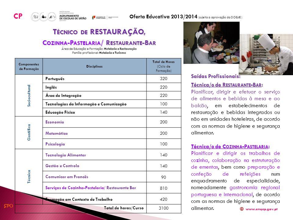 Componentes de Formação Disciplinas Total de Horas (Ciclo de Formação) Sociocultural Português320 Inglês220 Área de Integração220 Tecnologias da Infor