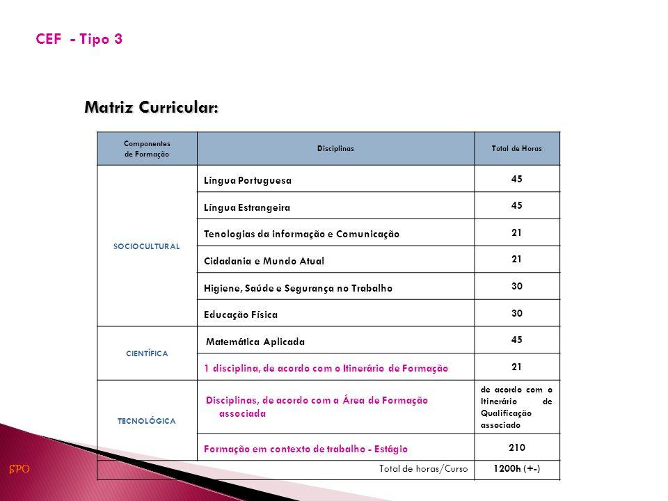 Matriz Curricular: Componentes de Formação DisciplinasTotal de Horas SOCIOCULTURAL Língua Portuguesa 45 Língua Estrangeira 45 Tenologias da informação