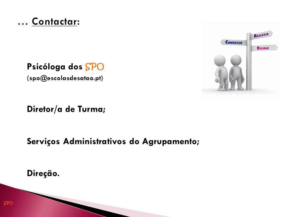 Psicóloga dos SPO (spo@escolasdesatao.pt) Diretor/a de Turma; Serviços Administrativos do Agrupamento; Direção. SPO