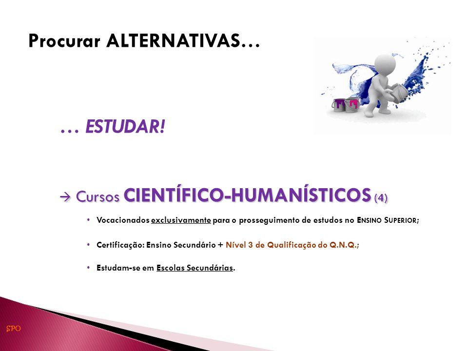 … ESTUDAR! Cursos CIENTÍFICO-HUMANÍSTICOS (4) Cursos CIENTÍFICO-HUMANÍSTICOS (4) Vocacionados exclusivamente para o prosseguimento de estudos no E NSI