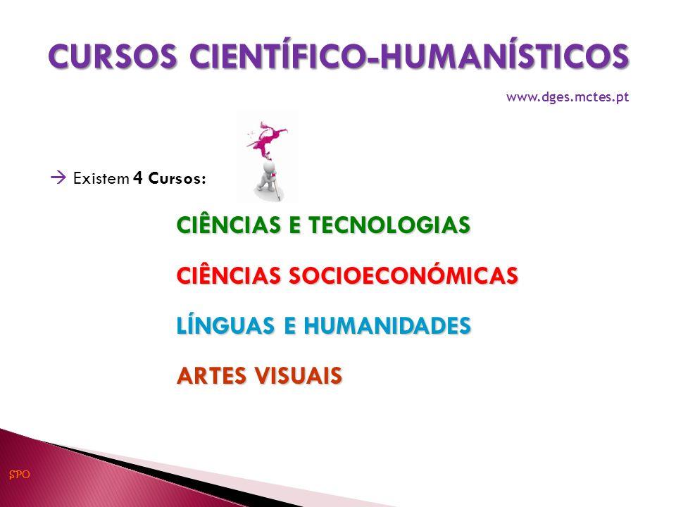 Existem 4 Cursos: CIÊNCIAS E TECNOLOGIAS CIÊNCIAS SOCIOECONÓMICAS LÍNGUAS E HUMANIDADES ARTES VISUAIS CURSOS CIENTÍFICO-HUMANÍSTICOS www.dges.mctes.pt SPO