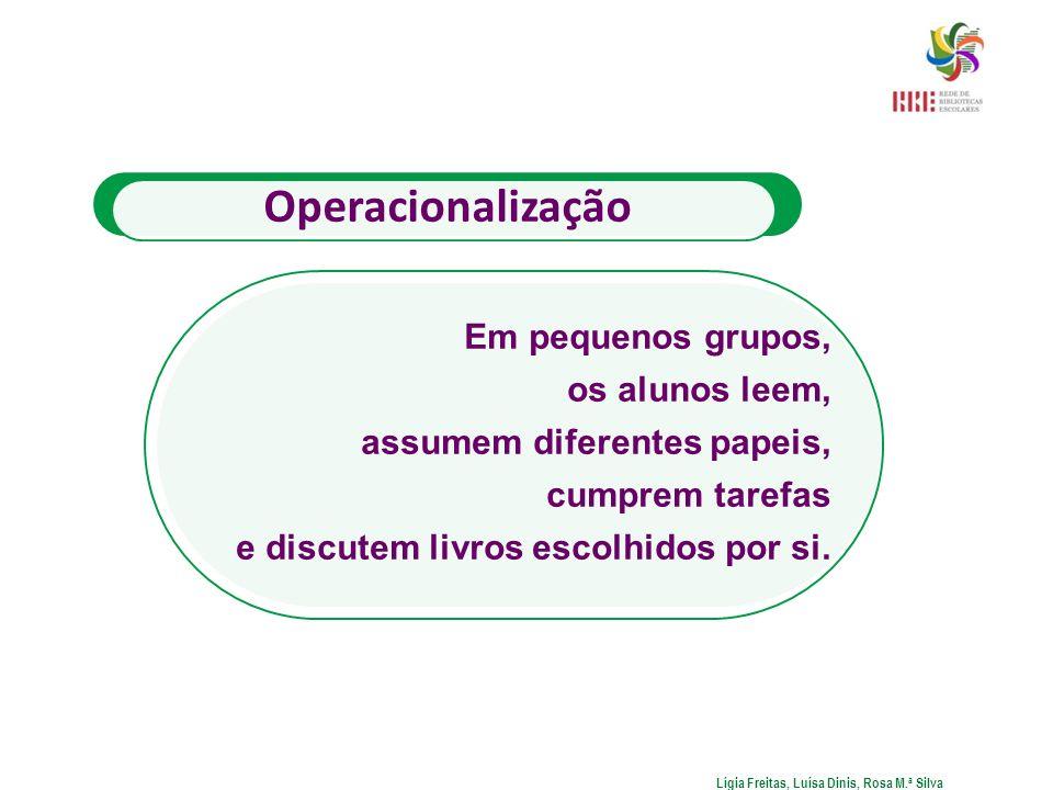 Operacionalização Em pequenos grupos, os alunos leem, assumem diferentes papeis, cumprem tarefas e discutem livros escolhidos por si. Lígia Freitas, L