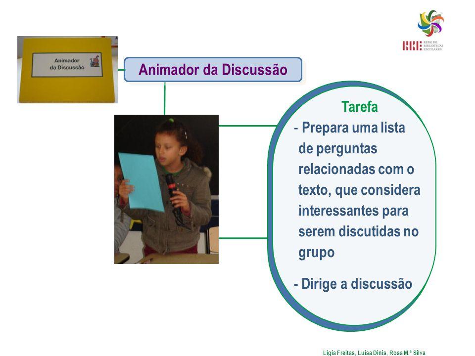 Tarefa - Prepara uma lista de perguntas relacionadas com o texto, que considera interessantes para serem discutidas no grupo - Dirige a discussão Lígi