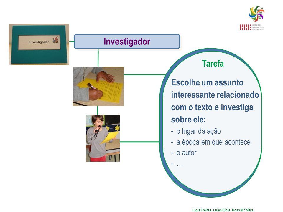 Lígia Freitas, Luísa Dinis, Rosa M.ª Silva Investigador Tarefa Escolhe um assunto interessante relacionado com o texto e investiga sobre ele: -o lugar