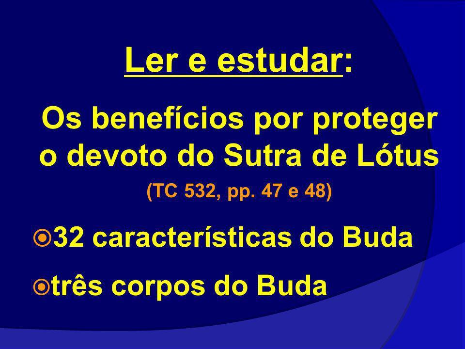 Ler e estudar: Os benefícios por proteger o devoto do Sutra de Lótus (TC 532, pp. 47 e 48) 32 características do Buda três corpos do Buda