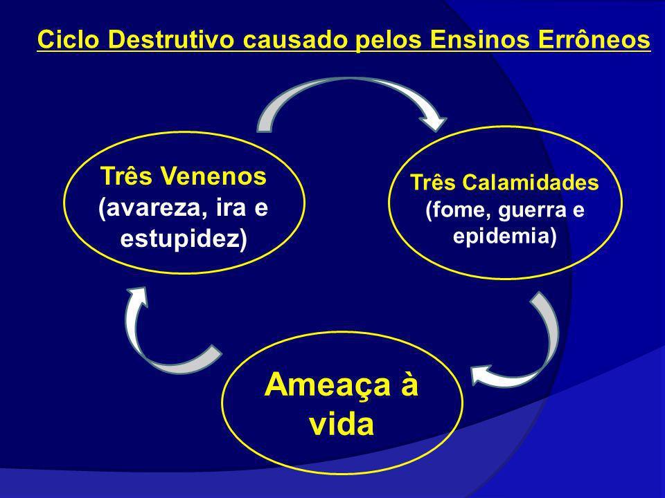 Três Venenos (avareza, ira e estupidez) Três Calamidades (fome, guerra e epidemia) Ameaça à vida Ciclo Destrutivo causado pelos Ensinos Errôneos