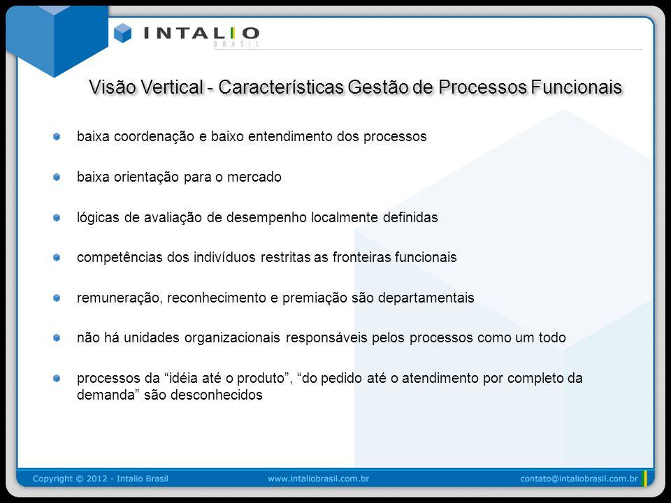 Visão Vertical - Características Gestão de Processos Funcionais Visão Vertical - Características Gestão de Processos Funcionais baixa coordenação e ba