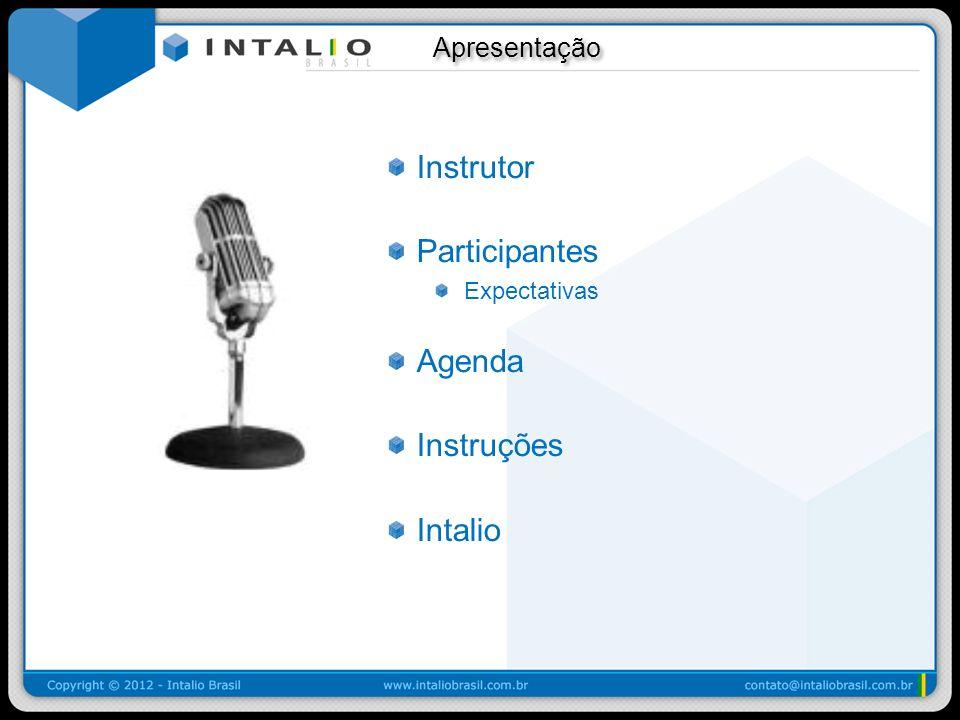 Apresentação Apresentação Instrutor Participantes Expectativas Agenda Instruções Intalio