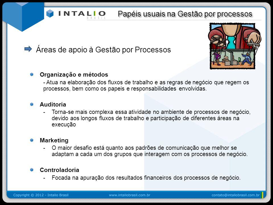 Papéis usuais na Gestão por processos Papéis usuais na Gestão por processos Áreas de apoio à Gestão por Processos Organização e métodos - Atua na elab