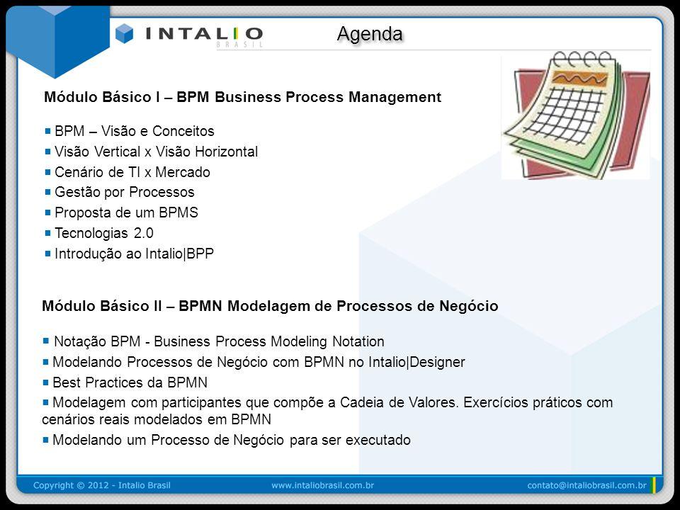 Agenda Agenda Módulo Intermediário BPEL - Automação e Integração de Processos de Negócio Um clique para fazer o Deploy Executando e Monitorando Processos de Negócio no Intalio|Server Orquestração de Processos de Negócio Integração de Processo de Negócio com Sistemas emulados, Banco de Dados e Pessoas utilizando: WSDL Connector, Intalio|JDBC e Intalio|AJAX na construção de interfaces de usuário no âmbito de Workflow.