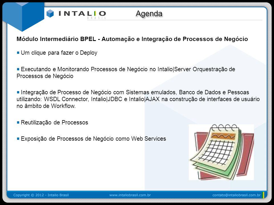 Agenda Agenda Módulo Intermediário BPEL - Automação e Integração de Processos de Negócio Um clique para fazer o Deploy Executando e Monitorando Proces
