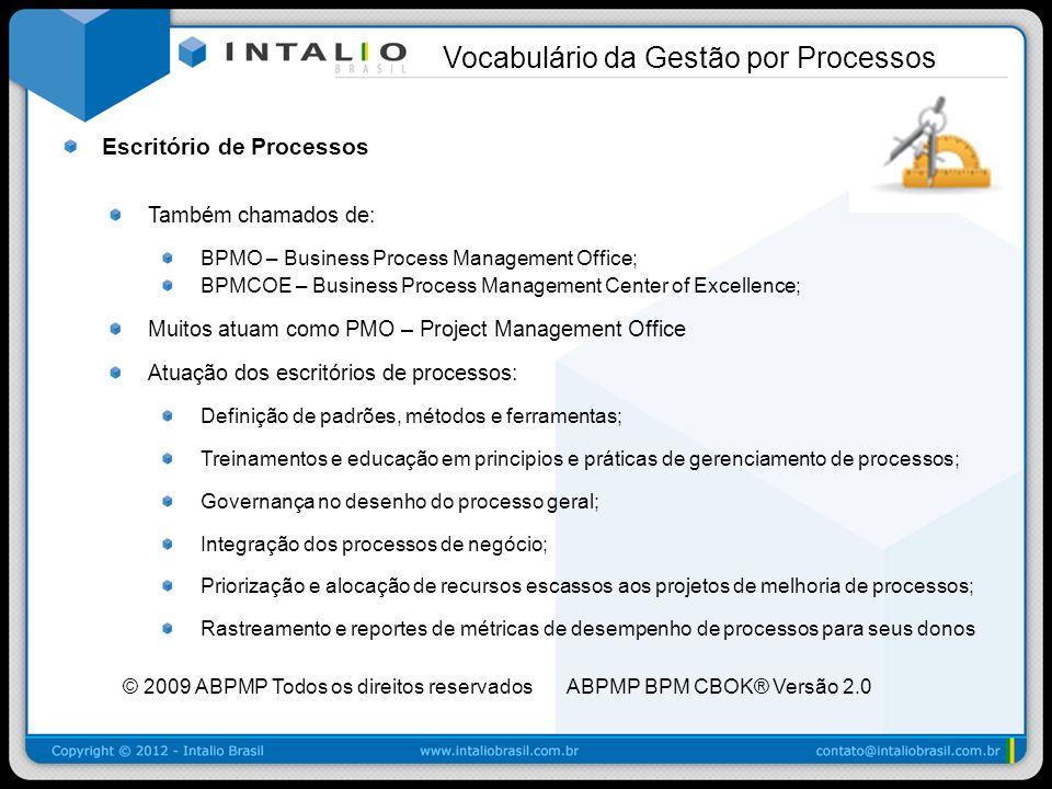 Escritório de Processos Também chamados de: BPMO – Business Process Management Office; BPMCOE – Business Process Management Center of Excellence; Muit