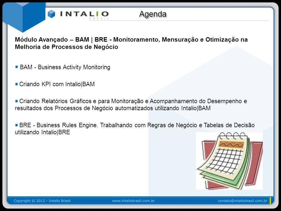 Agenda Agenda Módulo Avançado – BAM | BRE - Monitoramento, Mensuração e Otimização na Melhoria de Processos de Negócio BAM - Business Activity Monitor