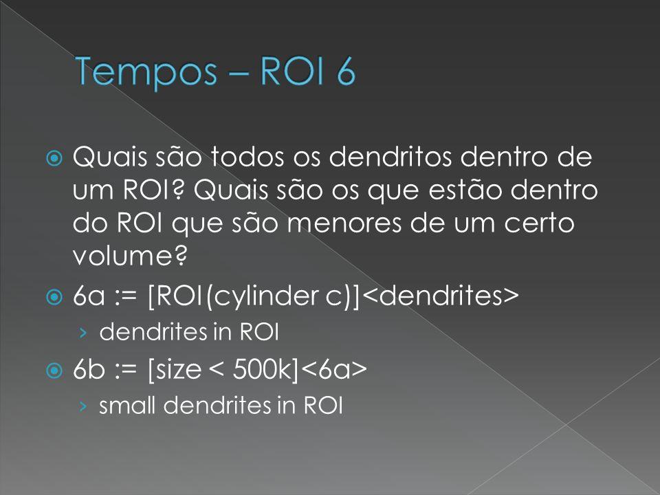 Quais são todos os dendritos dentro de um ROI? Quais são os que estão dentro do ROI que são menores de um certo volume? 6a := [ROI(cylinder c)] dendri