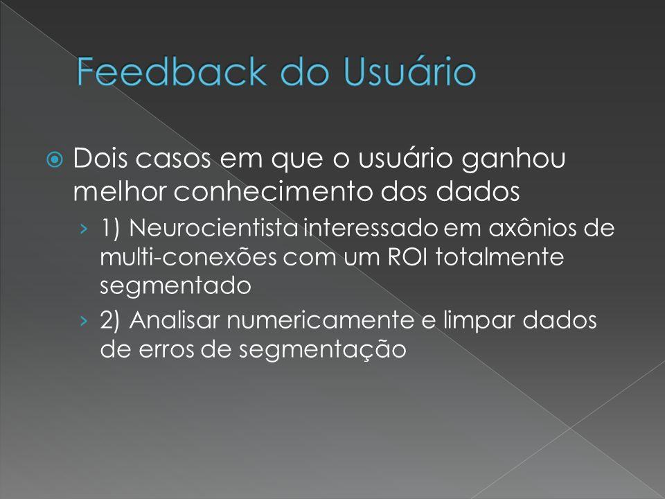 Dois casos em que o usuário ganhou melhor conhecimento dos dados 1) Neurocientista interessado em axônios de multi-conexões com um ROI totalmente segm