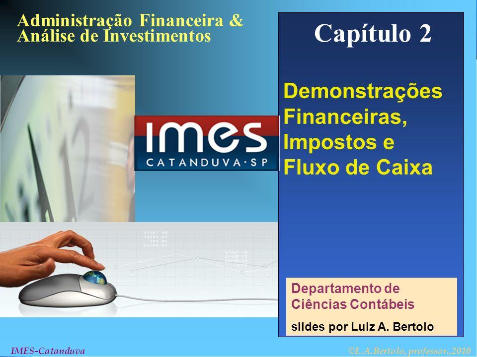 © L.A.Bertolo, professor,2010 2- 12 IMES-Catanduva Balanço Patrimonial EXEMPLO 1 A empresa Bert´s Citrus possui um ativo circulante de $ 100, um ativo permanente líquido de $ 500, dívidas a curto-prazo de $ 70 e dívidas de longo prazo de $ 200.