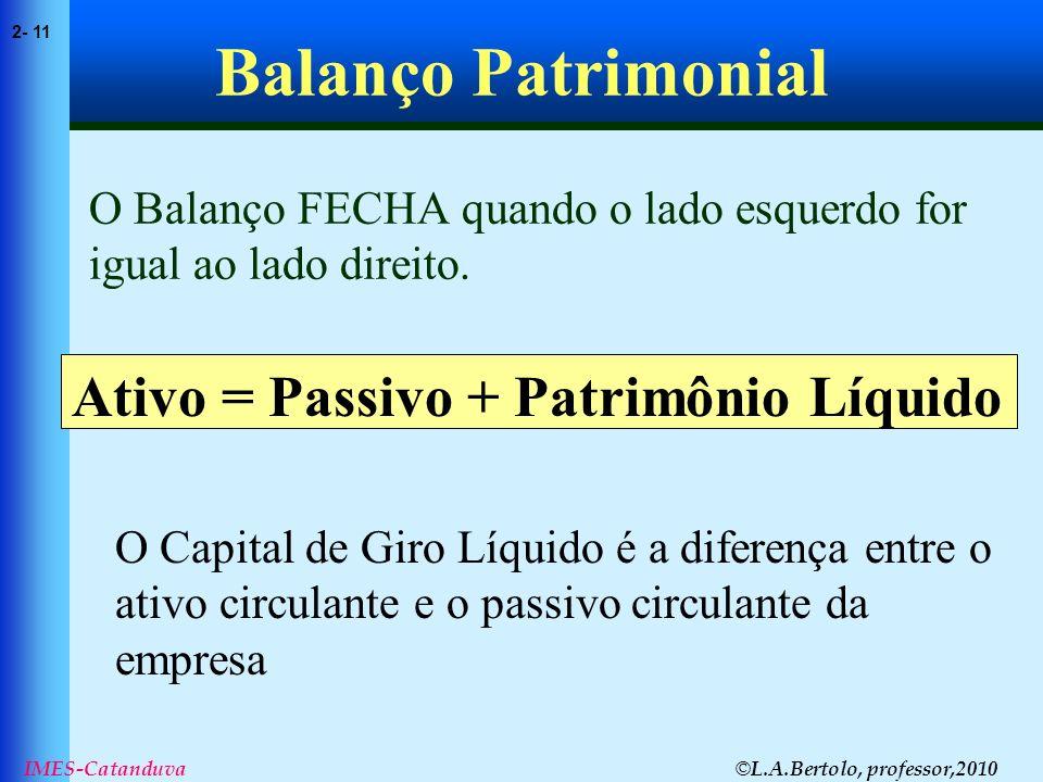 © L.A.Bertolo, professor,2010 2- 11 IMES-Catanduva Balanço Patrimonial O Balanço FECHA quando o lado esquerdo for igual ao lado direito. Ativo = Passi