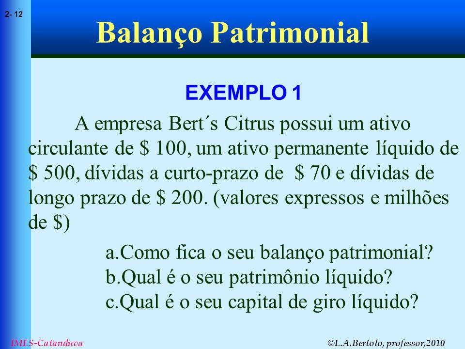 © L.A.Bertolo, professor,2010 2- 12 IMES-Catanduva Balanço Patrimonial EXEMPLO 1 A empresa Bert´s Citrus possui um ativo circulante de $ 100, um ativo
