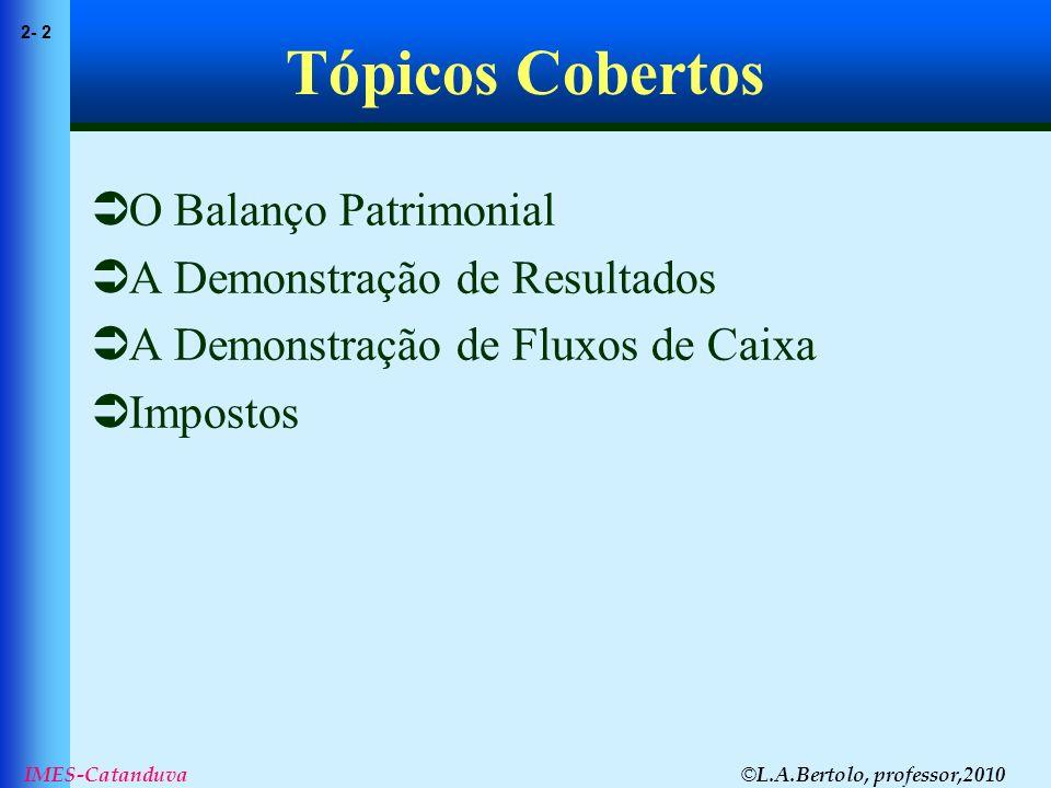 © L.A.Bertolo, professor,2010 2- 13 IMES-Catanduva Balanço Patrimonial EXEMPLO 1 A empresa Bert´s Citrus possui um ativo circulante de $ 100, um ativo permanente líquido de $ 500, dívidas a curto-prazo de $ 70 e dívidas de longo prazo de $ 200.