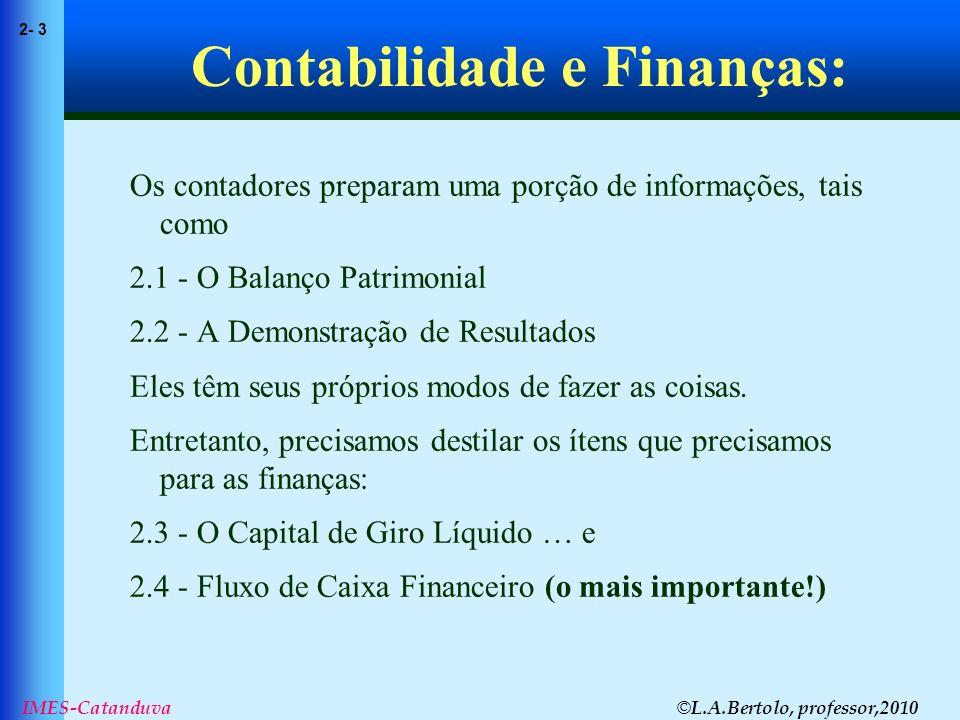 © L.A.Bertolo, professor,2010 2- 44 IMES-Catanduva Demonstração de Resultados Exercícios Aqui estão alguns dados sobre a Fincorp: a.Construa o balanço patrimonial para a Fincorp para 1999 e 2000.