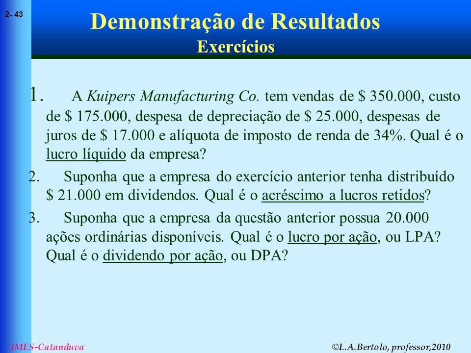 © L.A.Bertolo, professor,2010 2- 43 IMES-Catanduva Demonstração de Resultados Exercícios 1. A Kuipers Manufacturing Co. tem vendas de $ 350.000, custo