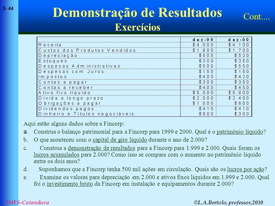 © L.A.Bertolo, professor,2010 2- 44 IMES-Catanduva Demonstração de Resultados Exercícios Aqui estão alguns dados sobre a Fincorp: a.Construa o balanço