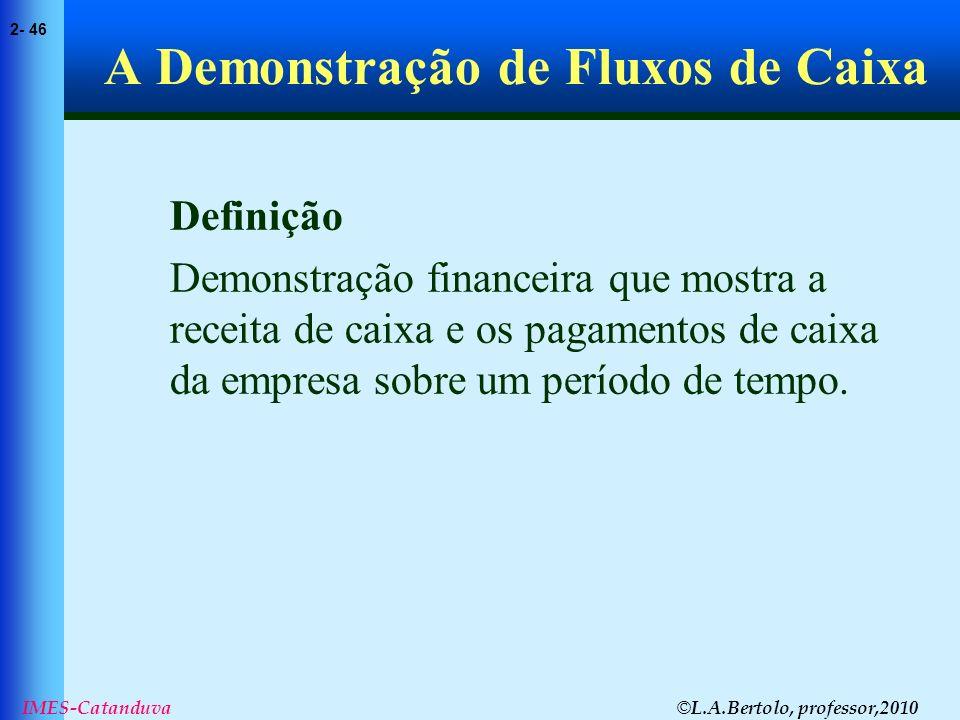 © L.A.Bertolo, professor,2010 2- 46 IMES-Catanduva A Demonstração de Fluxos de Caixa Definição Demonstração financeira que mostra a receita de caixa e