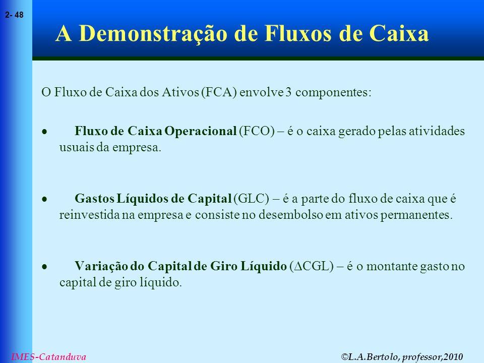 © L.A.Bertolo, professor,2010 2- 48 IMES-Catanduva A Demonstração de Fluxos de Caixa O Fluxo de Caixa dos Ativos (FCA) envolve 3 componentes: Fluxo de