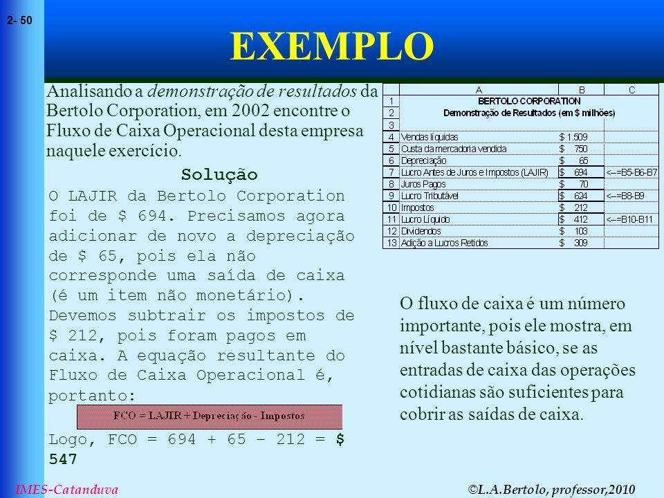 © L.A.Bertolo, professor,2010 2- 50 IMES-Catanduva EXEMPLO Analisando a demonstração de resultados da Bertolo Corporation, em 2002 encontre o Fluxo de