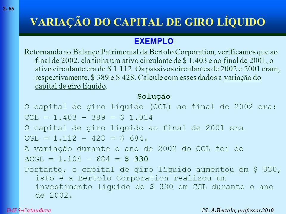 © L.A.Bertolo, professor,2010 2- 55 IMES-Catanduva VARIAÇÃO DO CAPITAL DE GIRO LÍQUIDO EXEMPLO Retornando ao Balanço Patrimonial da Bertolo Corporatio