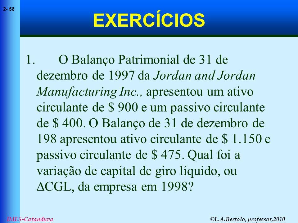 © L.A.Bertolo, professor,2010 2- 56 IMES-Catanduva EXERCÍCIOS 1. O Balanço Patrimonial de 31 de dezembro de 1997 da Jordan and Jordan Manufacturing In