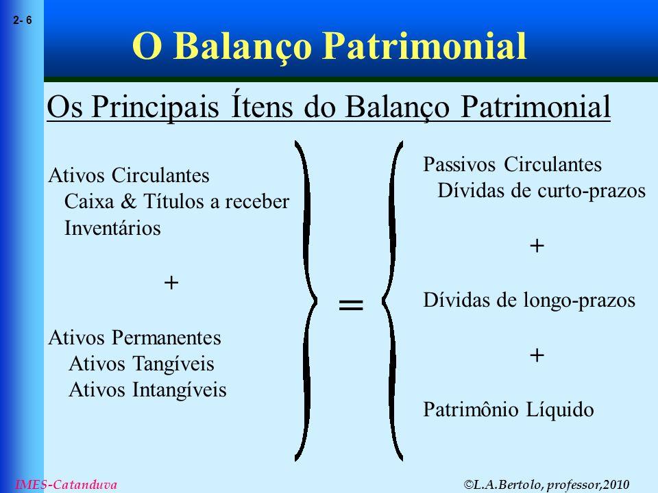 © L.A.Bertolo, professor,2010 2- 6 IMES-Catanduva O Balanço Patrimonial Os Principais Ítens do Balanço Patrimonial Ativos Circulantes Caixa & Títulos