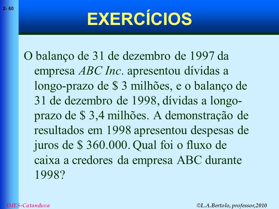 © L.A.Bertolo, professor,2010 2- 60 IMES-Catanduva EXERCÍCIOS O balanço de 31 de dezembro de 1997 da empresa ABC Inc. apresentou dívidas a longo-prazo