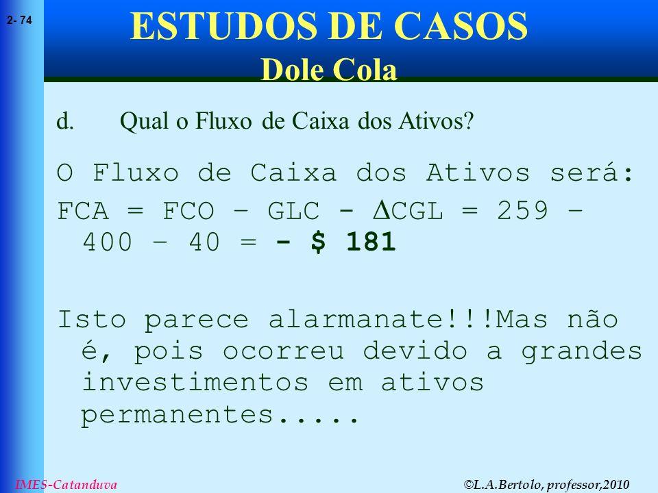 © L.A.Bertolo, professor,2010 2- 74 IMES-Catanduva ESTUDOS DE CASOS Dole Cola O Fluxo de Caixa dos Ativos será: FCA = FCO – GLC - CGL = 259 – 400 – 40